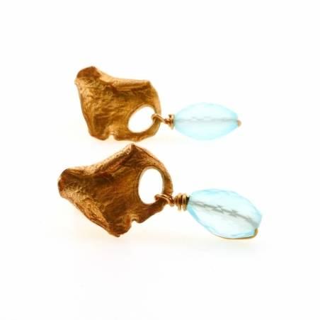 Petal and chalcedony earrings