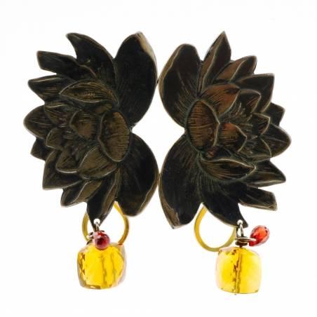Big lotus flower earrings