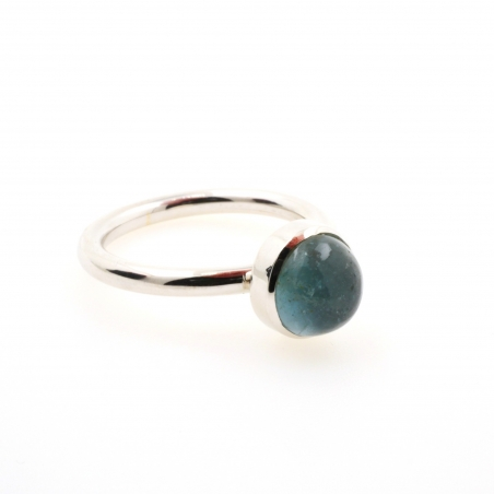 Circular aquamarine ring