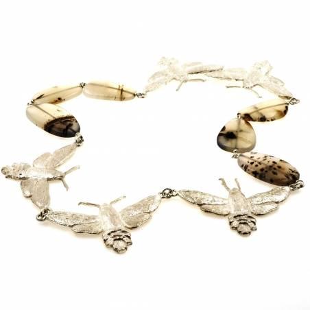 Hummingbird hawk-moth necklace